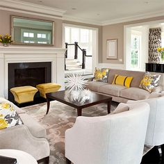 Taupe and yellow may not generally be considered as traditional colours, but these complentary colours add a dash of warmth to an othe...