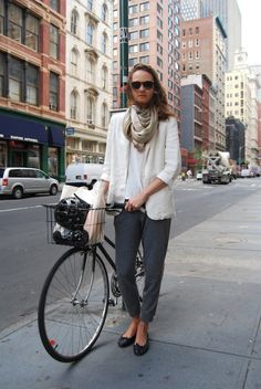 White Blazer and Grey Pants