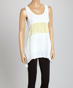 Another great find on #zulily! White & Lemon Lace Tunic #zulilyfinds