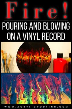 Check out how you can make fire in your artwork with acrylic pouring and blowing on a vinyl record. #acrylicpouring #blowing #acrylicfire #canvas #vinylrecord #acrylics #painting #fluidart #fluidpainting #creativity #art #acrylicpaintingtips Acrylic Painting Tips, Acrylic Pouring, Acrylics, Vinyl Records, Creativity, Fire, Canvas, Check, Artwork