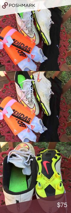 Men's Soccer Bundle Adidas Cleats size 13 Adidas Shin guards size large  Adidas soccer socks 2 pairs Used but seriously lots and lots of life left Cleaned and ready to Ship adidas Shoes Athletic Shoes