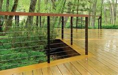 Cable railing with wood to warm it up a bit, good platform for ...