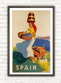 ETSY. Vintage Poster of Spain Travel Poster Tourism by OldCityPrints, $22.00