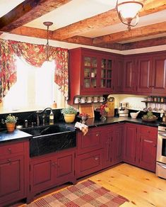 Rustic Wood Country Kitchen Design 55 image is part of Rustic Country Style Kitchen Made by Wood that You Must See gallery, you can read and see another amazing image Rustic Country Style Kitchen Made by Wood that You Must See on website Red Kitchen Cabinets, Kitchen Cabinet Colors, Painting Kitchen Cabinets, Kitchen Colors, Rustic Cabinets, Kitchen Paint, Primitive Kitchen Cabinets, White Cupboards, Kitchen Cupboard