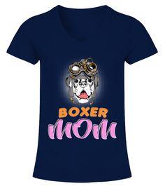 Boxer Dog Steampunk Helmet Mom  Funny Boxer T-shirt, Best Boxer T-shirt