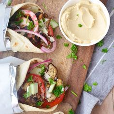 Eggplant Gyros With Hummus Dill Sauce // @delishknowledge. Find this #recipe and more on our Hummus Feed at https://feedfeed.info/hummus?img=802658 #feedfeed