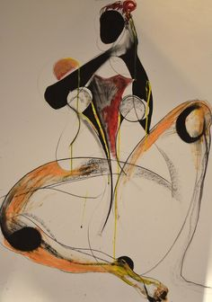 Drawing by Carmel Jenkin, Here I Am, charcoal, ink & acrylic on paper, 81cm x 57cm