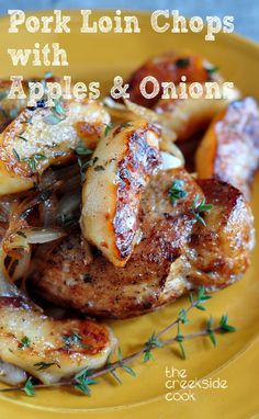 Pork Loin Chops with Apples and Onions - an under 30 minute, rich, satisfying meal. Whether for a week night supper, or dinner for company, everyone will love it. from The Creekside Cook #pork #easymeal #quickdinner Baked Pork Loin Chops, Apple Pork Chops, Pork Roast, Cooking Pork Loin Chops, Pork Top Loin Chops Recipe, Pork Chop Recipes, Pork Lion Chops Recipes, Pork Meals, Baked Apples