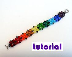 Tutorial: Diamonds beaded bracelet with pearls or crystals Beading instructions Beading pattern Bracelet tutorial Seed bead tutorial PDF T10
