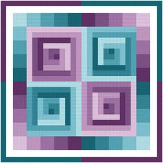 Rotating Squares cross stitch pattern.