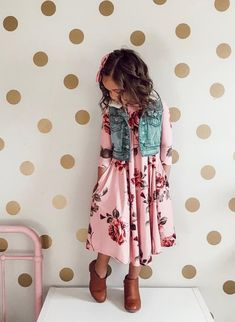 Floral Midi Dress Dusty Rose, Dress, Midi Dress,  Ryleigh Rue Clothing, Kids Clothing, Fashion, Online Shopping, Online Boutique, Style, Fashion Blogger, Striped top
