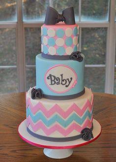 Gender Reveal Cake, Gender Neutral Baby Shower Cake. Pink and Blue Cake
