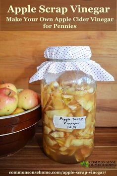 Apple Cider Vinegar Don't throw away those peels and cores! Make your own homemade apple cider vinegar for just pennies per gallon with this easy apple scrap vinegar. - Easy, inexpensive homemade apple Cider vinegar made from apple scraps. Natural Cold Remedies, Cold Home Remedies, Natural Remedies For Anxiety, Homeopathic Remedies, Health Remedies, Fermentation Recipes, Canning Recipes, Homemade Apple Cider Vinegar, Apple Harvest