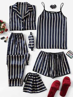 Shop Satin Striped Cami PJ Set With Shirt online. SHEIN offers Satin Striped Cami PJ Set With Shirt & more to fit your fashionable needs. Cute Pajama Sets, Cute Pajamas, Silk Pajamas, Pj Sets, Pyjamas, Pajama Outfits, Girl Outfits, Cute Outfits, Fashion Outfits