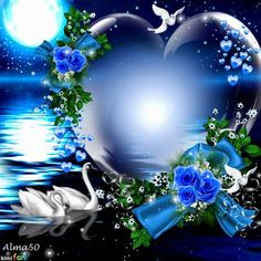 Blue Heart and Swans~~J Love Heart Images, Love You Images, Heart Pictures, I Love Heart, Love Pictures, Flower Phone Wallpaper, Heart Wallpaper, Butterfly Wallpaper, Hearts And Roses