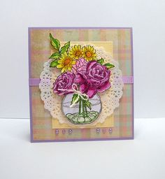 """Handcrafted Greeting Card, 5 1/2"""" x 6"""". Stamp used is called Bowl Bouquet from www.STAMPENDOUS.com ."""