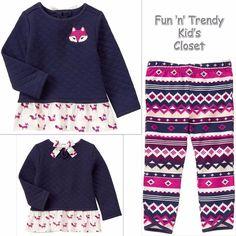 NWT Gymboree PLUM PONY Girls Size 6-12 Months Fox Peplum Tunic Top Leggings SET #Gymboree #Everyday