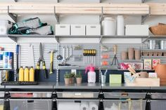The garage at DIY Network Ultimate Retreat 2017 offers a well-organized storage system for tools, garden supplies and lake essentials, with space for hobbies and projects.