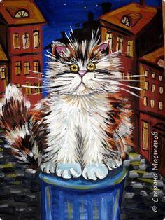 С учениками (5-6 лет) рисовали кошек и собак разными материалами, вот результаты нашего творчества. Первая работа моя, дальше детские, использовали для работы гуашь, шторы отпечатывали подложкой от продуктовой нарезки, произвольно рисовали на ней линии, наносили краску и делали отпечаток (можно использовать кусочки тюли или кружева). фото 8