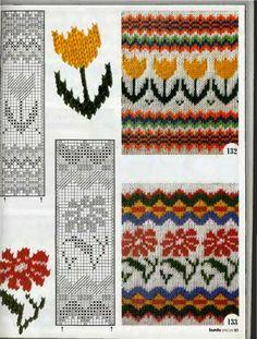 California poppy and Tulip fair isle design Fair Isle Knitting Patterns, Fair Isle Pattern, Knitting Charts, Knitting Designs, Knitting Stitches, Knit Patterns, Knitting Projects, Cross Stitch Patterns, Tejido Fair Isle