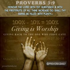 Proverbs 3:9 Tithe and worship in giving back to God