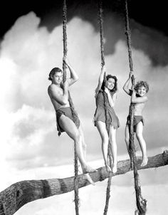 Portrait of Maureen O'Sullivan, Johnny Weissmuller and Johnny Sheffield  -Tarzan