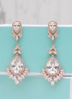 Bridal Earrings Wedding Jewelry Rose Gold Long Emerald Shire