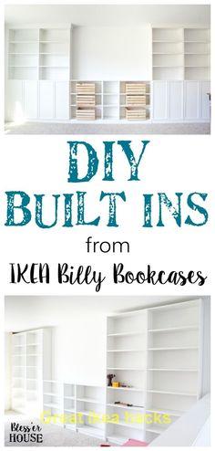 ideas diy storage bookcase ikea hacks for 2019 Diy Built In Shelves, Built In Shelves Living Room, Ikea Built In, Bookshelves Built In, Bedroom Built Ins, Storage Shelves, Ikea Shelving Hack, Diy Shelving, Large Shelves