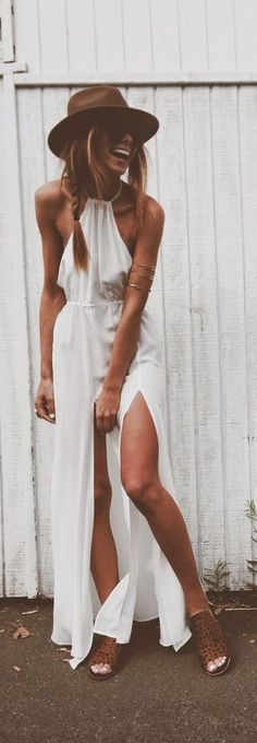 street style / white slit dress ☮ re-pinned by www.wfpcc.com