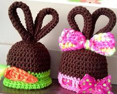 Ravelry: Fudgy Wiggle Ears pattern by Heidi Yates--Oh my word, have to make these for easter Holiday Crochet, Easter Crochet, Crochet Bunny, Crochet Baby Hats, Crochet For Kids, Crochet Crafts, Yarn Crafts, Crochet Projects, Knit Crochet