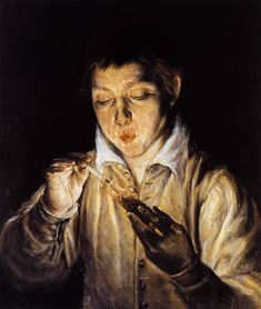 A boy blowing on an ember to light a candle, 1570 El Greco - by style - Mannerism (Late Renaissance) Chiaroscuro, Caravaggio, Renaissance Espagnole, Web Gallery Of Art, Renaissance Kunst, Jan Van Eyck, William Turner, Spanish Artists, Spanish Painters