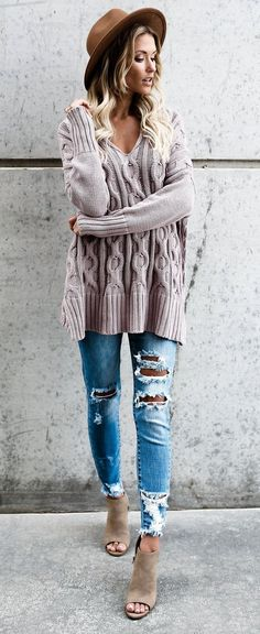 ripped jeans and nude sweater to buy #fashionaccessoriestrendsoutfitideas