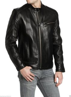 Men Leather Jacket Handmade Black Motorcycle Solid Lambskin