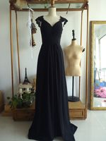 Evening Dress Pleated Floor Length Black Chiffon Formal Occasion Dress with Brush Train