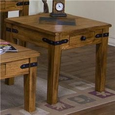 Sedona End Table w/ Drawer & Slate Tile Top by Sunny Designs at Powell's Furniture