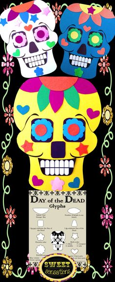 A Day of the Dead glyph and craft activity - perfect if your students are studying Dia de los Muertos or holidays around the world for social studies, and a great alternative to Halloween crafts! Click here to SAVE when you buy this as part of a Day of the Dead bundle with flip book activity!