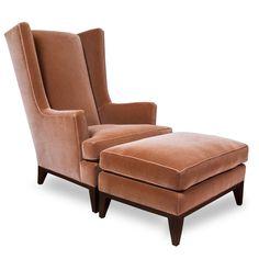 "Donghia ""Heron"" Wing Chair and egret ottoman at DecorNYC Furniture Upholstery, Wood Furniture, Living Room Furniture, Upholstered Ottoman, Chair And Ottoman, Nyc Decor, Home Decor, Vintage Sofa, Retro Sofa"