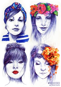 Personal Project: Mais Que Retratos. Portraits done with Ballpoint pen and felt tip pen on paper.