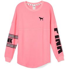 PINK Varsity Crew ($50) ❤ liked on Polyvore featuring tops, shirts, shirts & tops, oversized tops, pink mesh shirt, graphic design shirts and victoria secret pink shirts