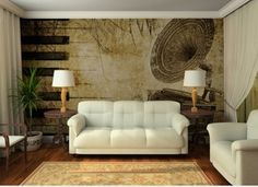 Here's a musical background InkShuffle mural in grunge style perfect to create that classy timeless atmosphere in your living room.