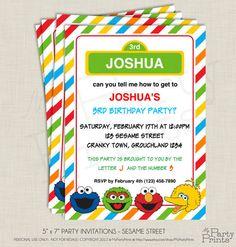 Party Printables - 5 x 7 Invitations Elmo SESAME STREET  (PP-2204) - Instant Download. $5.00, via Etsy.