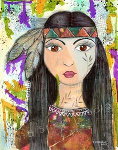 Original Mixed Media on 140# Mixed Media Paper - Indian Maiden by ByrdStreetStudio on Etsy