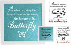Vinyl Sticker for DIY Box Frame JUST WHEN THE CATTERPILLAR/BUTTERFLY MEMORY QUOT #unbranded