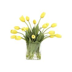 One Kings Lane Eternal Spring Yellow Tulips in Glass Vase (420 BGN) ❤ liked on Polyvore featuring home, home decor, floral decor, flowers, plants, fillers, yellow, decor, spring home decor and flower stems