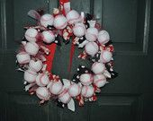 Baseball Rag Wreath--Baseball decor--- baseball wreath--- #EasyPin