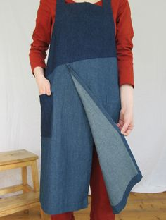 Overlapped 'split leg' skirt allows lots of movement while ensuring each leg is perfectly covered when sitting at the wheel or work bench. This is a 'No4:6' design apron is a one-off piece, made using denim remnants. My Boro Collection reduces waste while creating something useful and unusual that will last for years. Rustic Aprons, Long Bib, Work Aprons, Split Legs, Reduce Waste, Denim Patchwork, Boro, French Vintage, Snug Fit