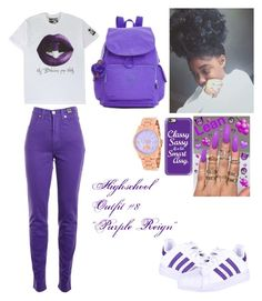 """""""Highschool Outfit #8 """"Purple Reign"""""""" by bahselah on Polyvore featuring adidas, Versace Jeans Couture, Casetify, Kipling and Michael Kors"""