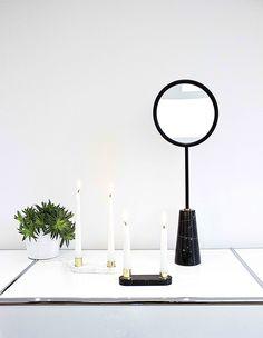 Miroir sur pied conique - Marbre noir