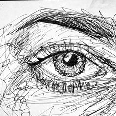 Eye in my new obsession, scribble art Arte Grunge, Realistic Eye Drawing, Drawing Eyes, Contour Drawing, Scribble Art, Eye Sketch, Arte Sketchbook, Pen Art, Art Drawings Sketches