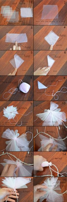 DIY Fairy Lights - instruction  I like the idea of these. Maybe I'll use them as garland on my bed, by the couch, or as a 'wind chime'? I like tulle fabric. Maybe soft pinks, orange, and red for a garland?
